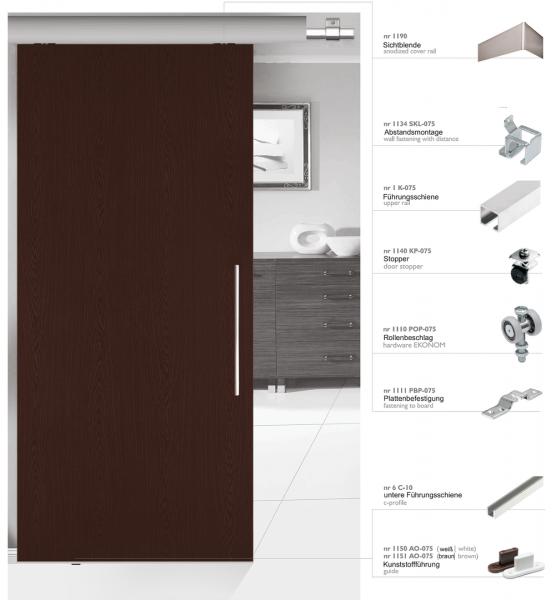 Schiebetürbeschlag 40/2 | Bausatz für 2 Türen