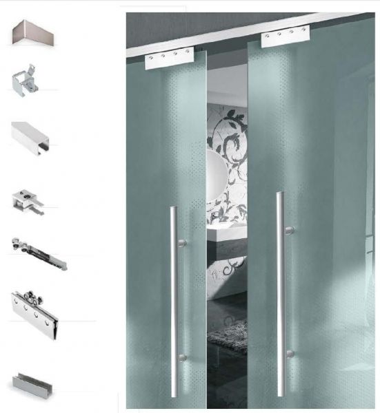 Schiebetürbeschlag 75/2 | Bausatz für 8 mm Glastüren Synchronbeschlag