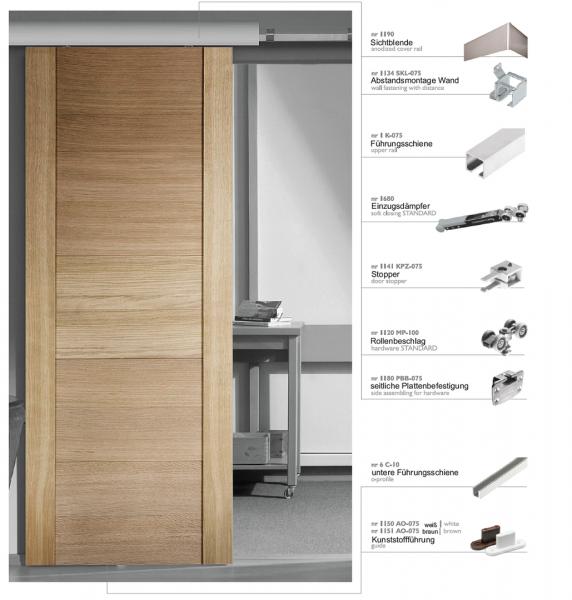 Schiebetürbeschlag 100/1 | Bausatz für eine Tür bis 100 kg