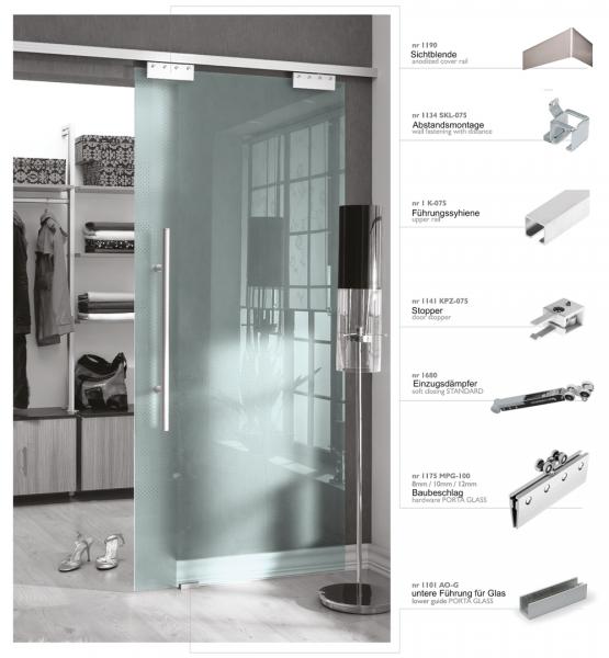 Schiebetürbeschlag 75/1 | Bausatz für 8 mm Glasplatten bis 75 kg