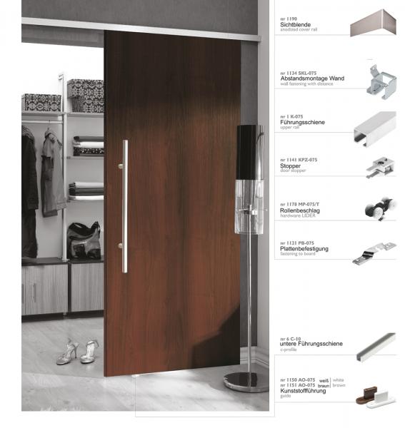 Schiebetürbeschlag 50/1 | Bausatz für 1 Tür bis 50 kg